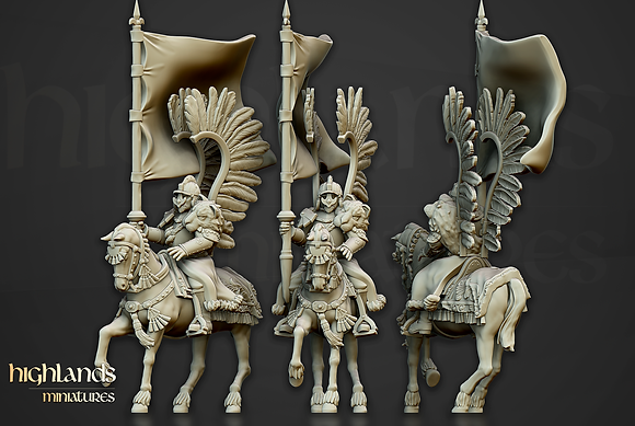 Sunland Imperial Winged Hussar Command Unit by Highlands Miniatures