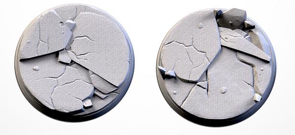 50mm bases 2 pack Frozen Ruins design