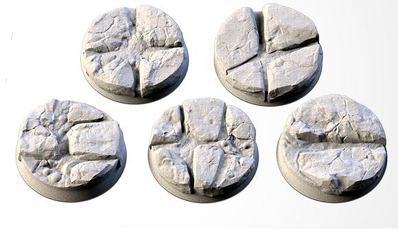 32mm bases 5 pack Volcanic design