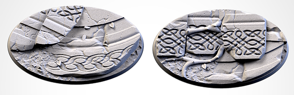 89mm by 52mm oval Bases 2 pack Ancestral Ruins design