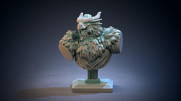 DragonWolf Druid Bust from clay cyanide