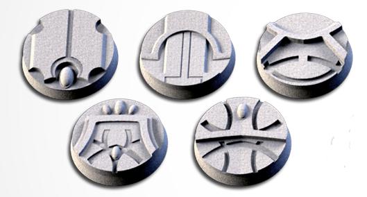 25 mm Bases 5 pack Magic Temples design