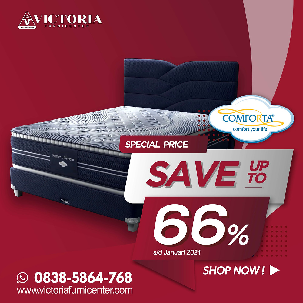 Promo Comforta Spring Bed Surabaya terbaru per Bulan April 2020, diskon harga spring bed hingga 65% pada tipe-tipe tertentu. Pengiriman Free Ongkir kota-kota tertentu di Jawa Timur, sampai ke rumah dipasangkan hingga ke kamar. Hubungi Kami via WhatsApp di 08385864768!