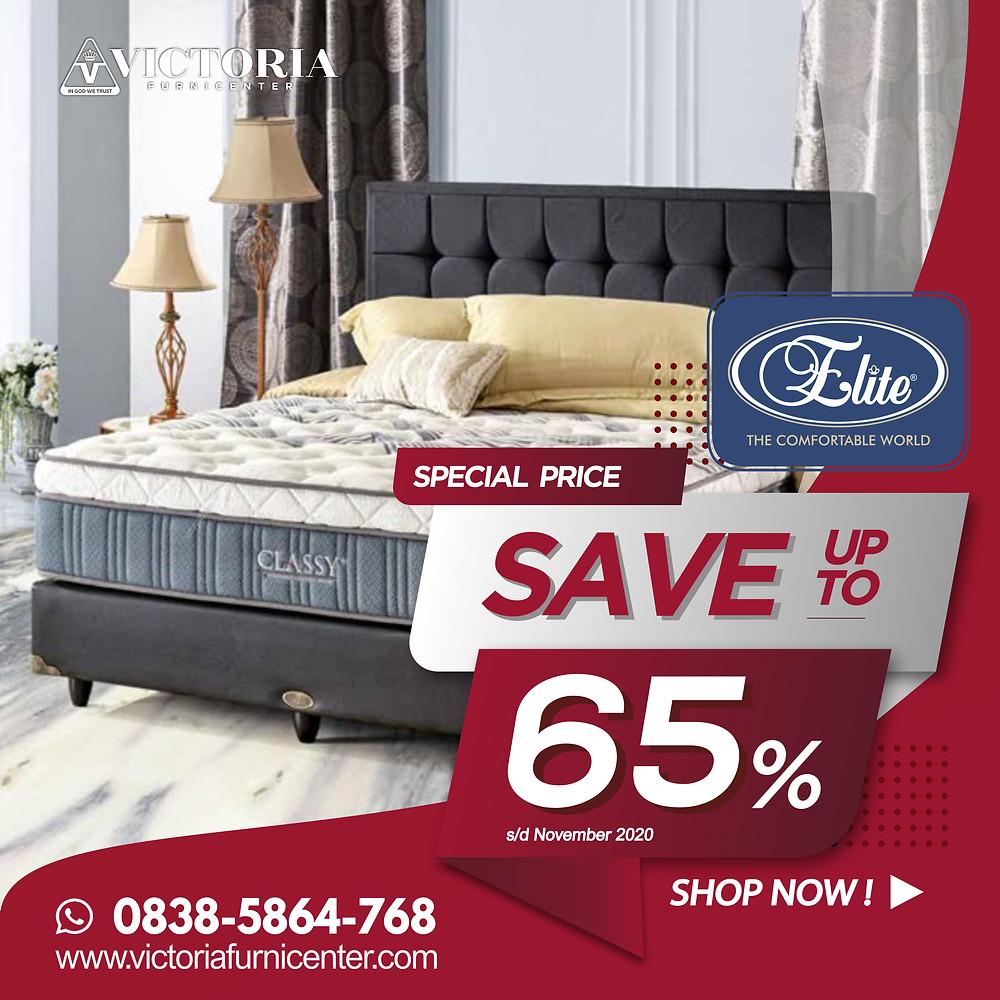 Promo Elite Spring Bed Surabaya terbaru per Bulan April 2020, diskon harga spring bed hingga 76% pada tipe-tipe tertentu. Pengiriman Free Ongkir kota-kota tertentu di Jawa Timur, sampai ke rumah dipasangkan hingga ke kamar. Hubungi Kami via WhatsApp di 08385864768!