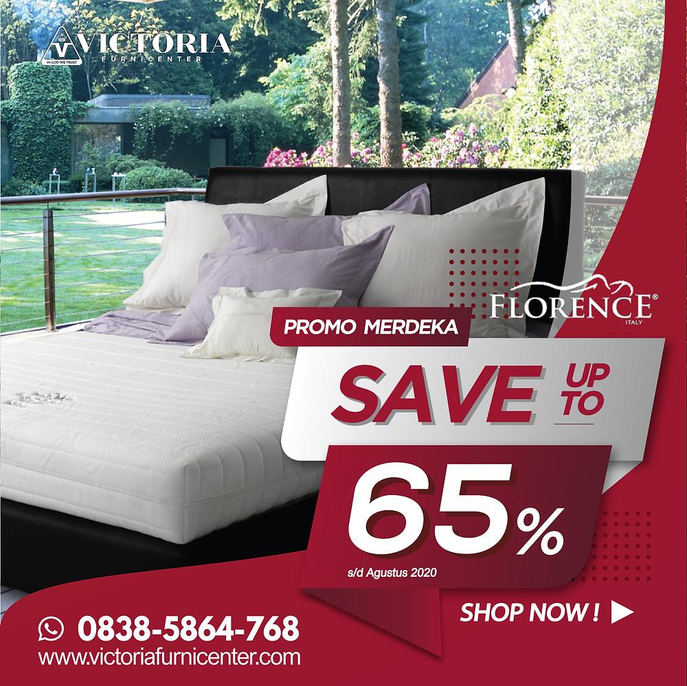 Promo Florence Spring Bed Surabaya terbaru per Bulan April 2020, diskon harga spring bed hingga 55% pada tipe-tipe tertentu. Pengiriman Free Ongkir kota-kota tertentu di Jawa Timur, sampai ke rumah dipasangkan hingga ke kamar. Hubungi Kami via WhatsApp di 08385864768!