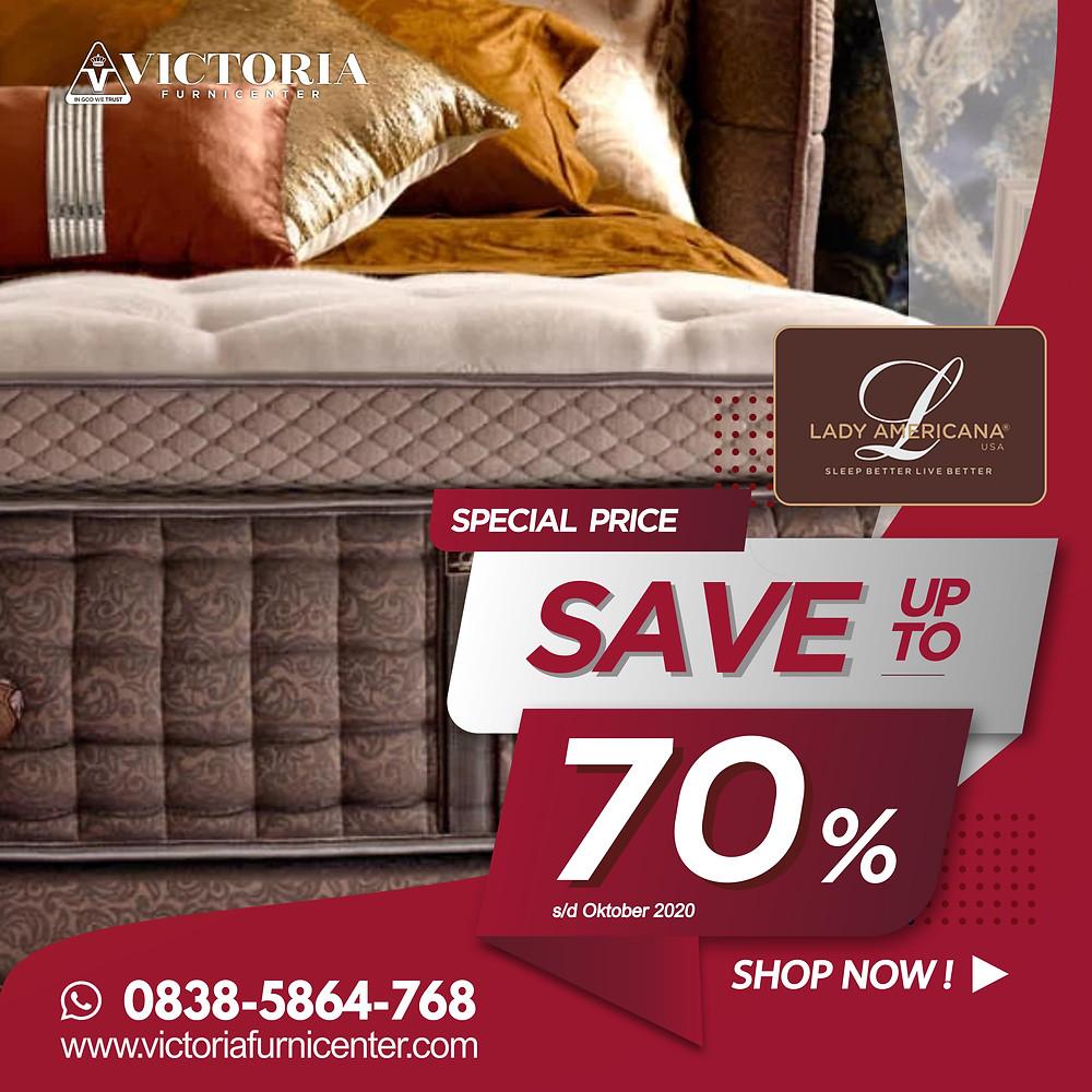Promo Lady Americana Spring Bed Surabaya terbaru per Bulan April 2020, diskon harga spring bed hingga 76% pada tipe-tipe tertentu. Pengiriman Free Ongkir kota-kota tertentu di Jawa Timur, sampai ke rumah dipasangkan hingga ke kamar. Hubungi Kami via WhatsApp di 08385864768!