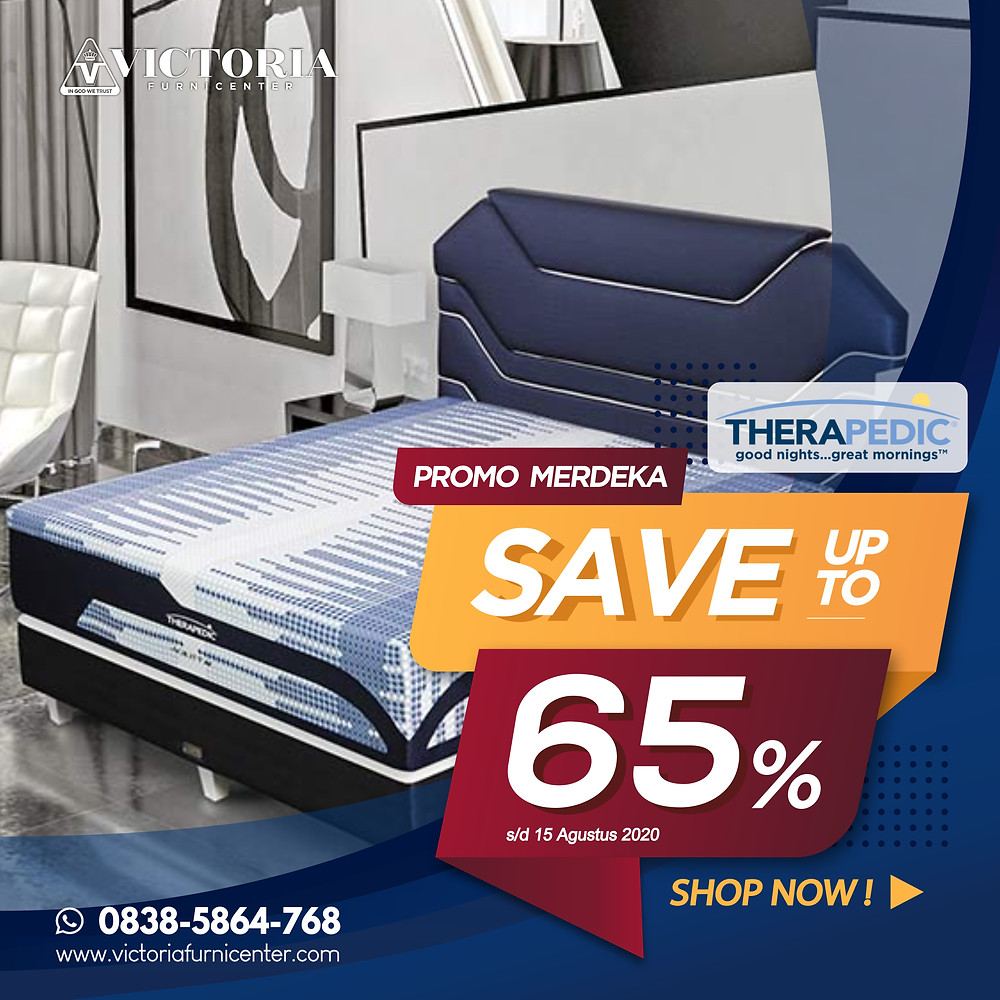 Promo Therapedic Spring Bed Surabaya terbaru per Bulan April 2020, diskon harga spring bed hingga 65% pada tipe-tipe tertentu. Pengiriman Free Ongkir kota-kota tertentu di Jawa Timur, sampai ke rumah dipasangkan hingga ke kamar. Hubungi Kami via WhatsApp di 08385864768!