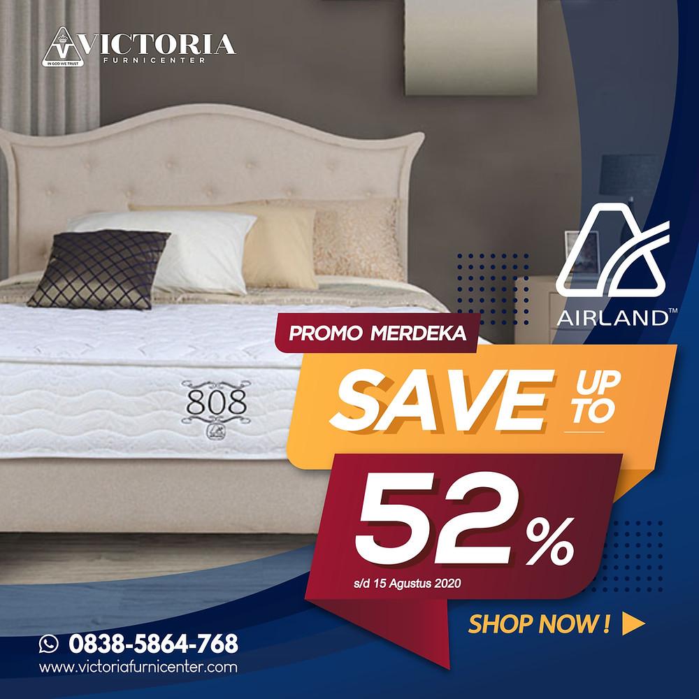 Promo Airland Spring Bed Surabaya terbaru per Bulan April 2020, diskon harga spring bed hingga 52% pada tipe-tipe tertentu. Pengiriman Free Ongkir kota-kota tertentu di Jawa Timur, sampai ke rumah dipasangkan hingga ke kamar. Hubungi Kami via WhatsApp di 08385864768!