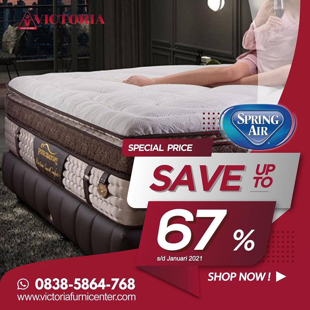 Promo SpringAir Spring Bed Surabaya terbaru per Bulan April 2020, diskon harga spring bed hingga 65% pada tipe-tipe tertentu. Pengiriman Free Ongkir kota-kota tertentu di Jawa Timur, sampai ke rumah dipasangkan hingga ke kamar. Hubungi Kami via WhatsApp di 08385864768!