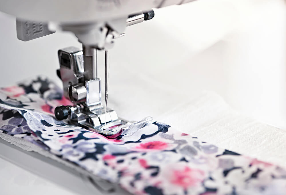 close up of needle quilting on a domestic sewing machine