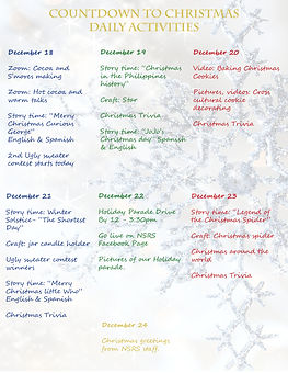Daily Activities- Countdown to Christmas