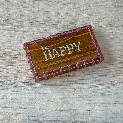 Stitch Block Magnet - Be Happy