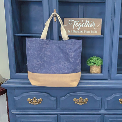 Navy Blue Washed Canvas Tote Bag w/Burlap Bottom