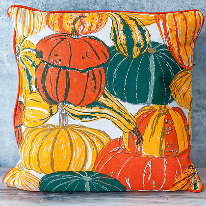 Pumpkins & Squash Cotton Throw Pillow