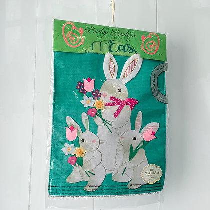 Bunny Trio Burlap Flag