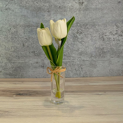 Vase with Mini Cream Tulips