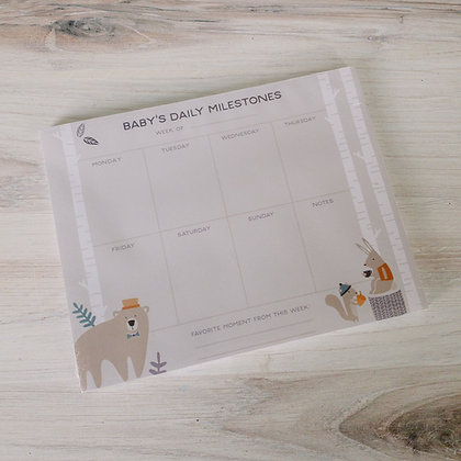 Baby Daily Milestones Notepad