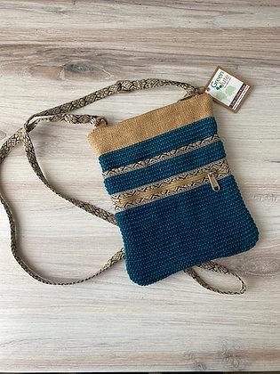 Turquoise Hipster Jute Sling Bag