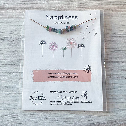 Tourmaline Happiness Seed Necklace