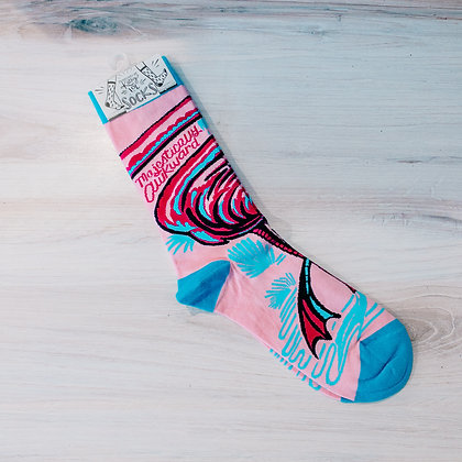 Socks - Majestically Awkward Flamingo