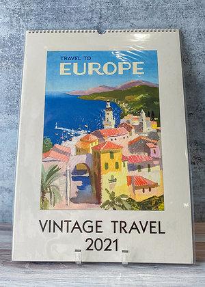 Vintage Travel Wall Calendar - 2021