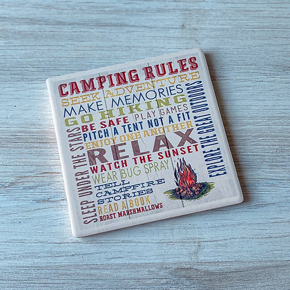 Camping Rules Ceramic Coaster