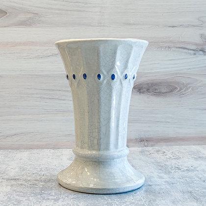 Vintage McCoy Pottery White Crackle Vase with Blue Dots