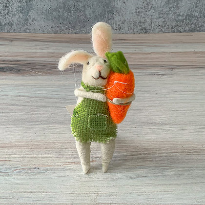 Felt Bunny with Apron and Carrot