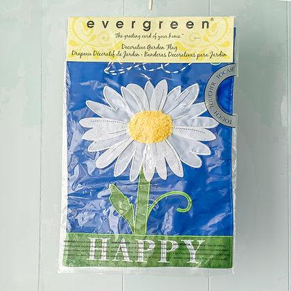 Bee Happy Daisy Garden Flag