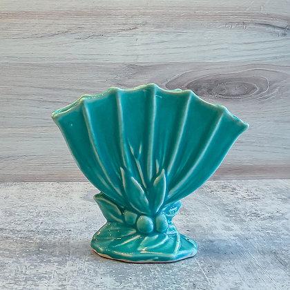 Vintage McCoy Pottery Aqua Fan Vase