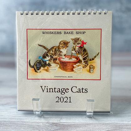 Vintage Cats Desk Calendar - 2021
