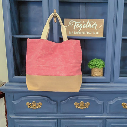Pink Washed Canvas Tote w/Burlap Bottom