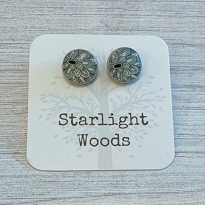 Black Floral Stud Post Earrings