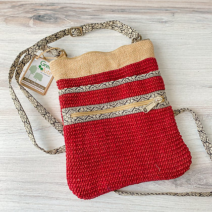 Brick Red Hipster Jute Sling Bag