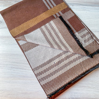 Noble Reversable Scarf - Brown/Tan