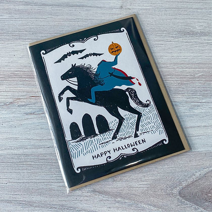 Happy Halloween Headless Horseman Card