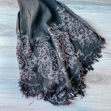 Black Embroidered Scarf