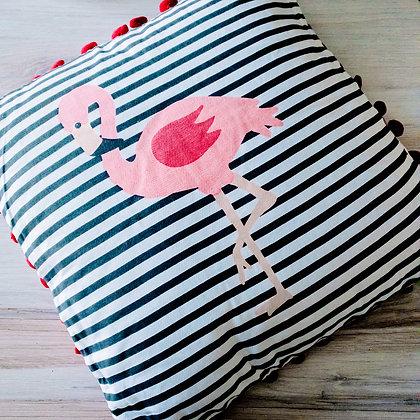 Flamingo Striped Cotton Throw Pillow
