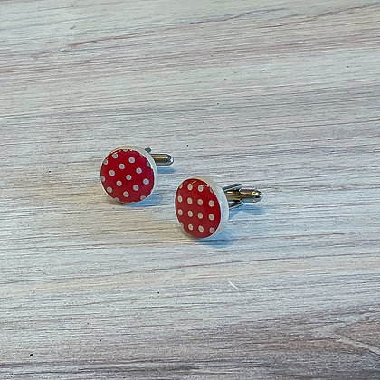 Red Polka Dot Wood Cufflinks