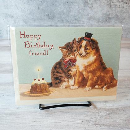 Happy Birthday Card with Dog & Cat