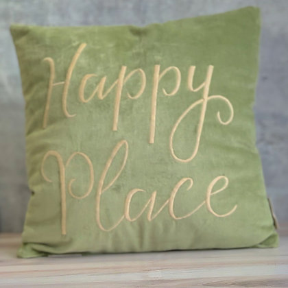 "Velvet ""Happy Place"" Pillow"