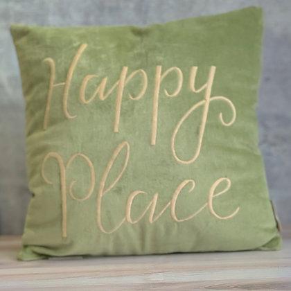 "Velvet ""Happy Place"" Pillow"