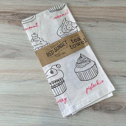 Red Sunset Cupcake Tea Towel