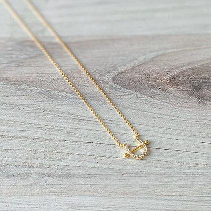 Gold Pave Horseshoe Necklace