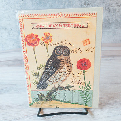Birthday Greetings Card with Owl