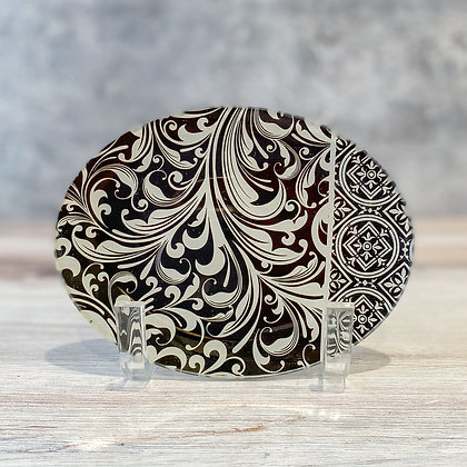 Black Florentine Glass Soap Dish