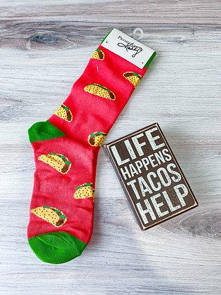 Tacos Box Sign & Sock Set