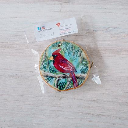 Cardinal Wood Slice Ornament