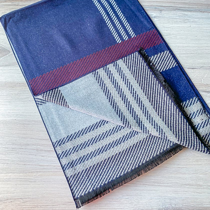 Noble Reversible Scarf - Navy/Light Blue