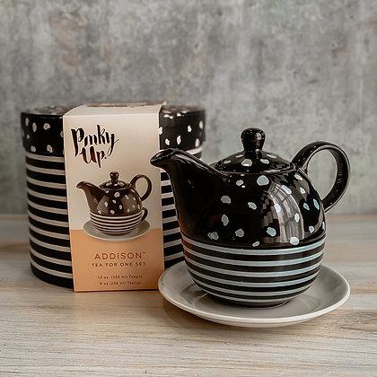 Addison Black & White Tea For One Set